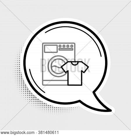 Line Washer And T-shirt Icon Isolated On Grey Background. Washing Machine Icon. Clothes Washer, Laun