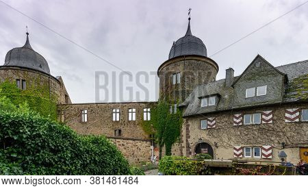 Beberbeck, Hessen / Germany - 2 August 2020: The 12th-century Sabbaburg Ruins In Hessen