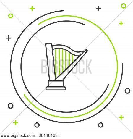 Line Harp Icon Isolated On White Background. Classical Music Instrument, Orhestra String Acoustic El