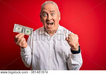 Middle age hoary man holding one dollar banknote over isolated red background screaming proud and celebrating victory and success very excited, cheering emotion