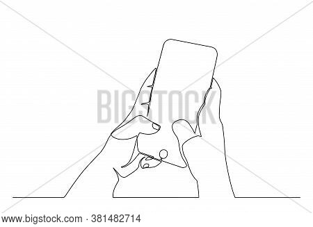 Continuous One Line Drawing Smartphone Phone In Hand. Simple Line Drawing Hand Using Modern Mobile P