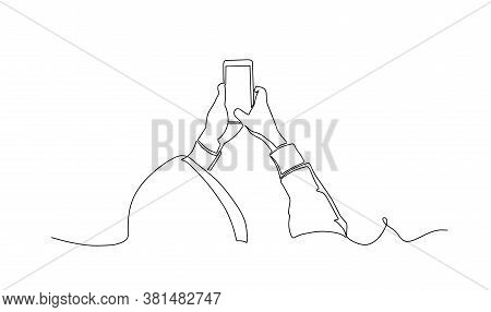 Man In A Hoodie Taking Photo With Smartphone One Line Drawing. Side View. Man Standing With Smartpho