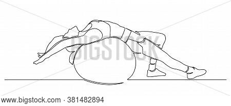 Beautiful Girl In Sports Clothes Sitting On A Fitness Ball One Line. Young Girl Doing Exercises With