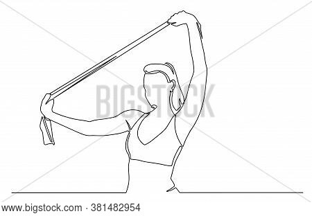 Portrait Of Woman In Sportswear Exercises With Resistance Band. Continuous Line Drawing. Fitness Fem