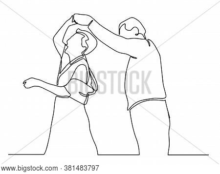 Elderly Couple In Continuous Line Art Drawing Style. Romantic Elderly Couple Dancing. Old Grandfathe