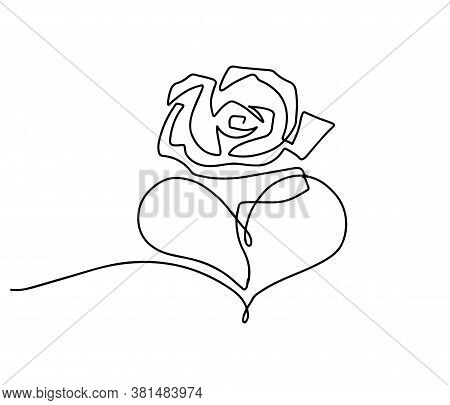 Rose Flower Icon. Continuous One Line Drawing. Rose With Heart Illustration. Concept Of Love. Flower