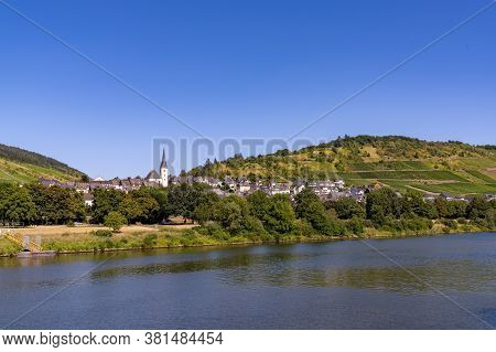 The Village Of Enkirch In The Mosel Valley On A Summer Evening