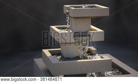A modern stylish indoor fountain 3D illustration