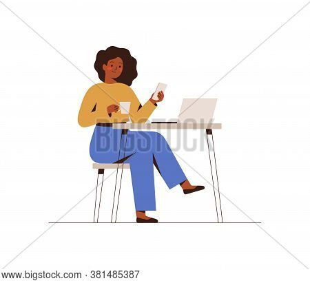 Black Woman Chatting On A Smartphone Sitting At The Cafe Table. Happy Freelancer Or Office Female Wo