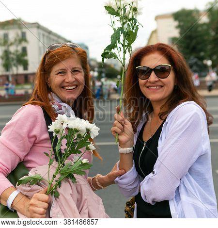 Minsk/ Belarus - August 14, 2020: Peaceful Protests In Belarus. Presidential Elections In Belarus 20