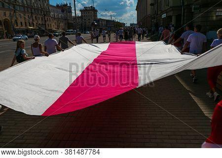 Minsk/ Belarus - August 16, 2020: Large Scale Opposition Rally In Minsk. Presidential Elections In B