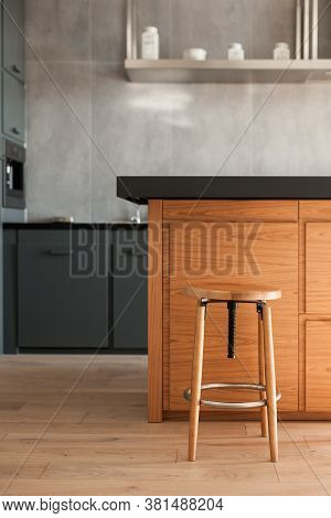 Vertical View Of Modern House With Contemporary Interior Design In Kitchen Room, Cabinet Furniture A