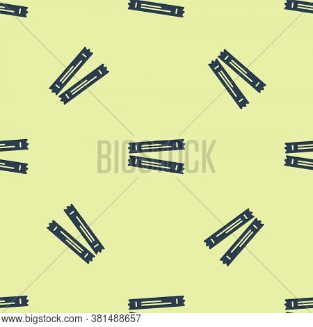 Blue Sugar Stick Packets Icon Isolated Seamless Pattern On Yellow Background. Blank Individual Packa