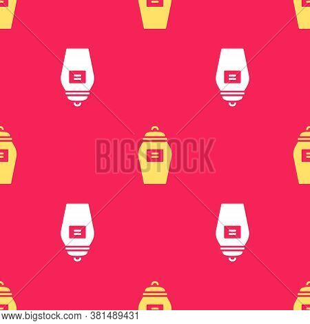 Yellow Funeral Urn Icon Isolated Seamless Pattern On Red Background. Cremation And Burial Containers