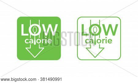 Low Calorie Stamp - Spoon And Arrow Down Integrated In Text - Isolated Vector Emblem