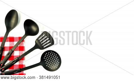 Set Of Kitchen Utensils For Cooking And Culinary Craftsmanship, Spoon, Ladle, Scoop And Shovel. Isol