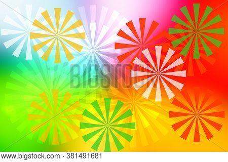 Abstract Fresh Vivid Multicolored Fantasy Rainbow Background Summer Texture With Rainbow Pinwheels.