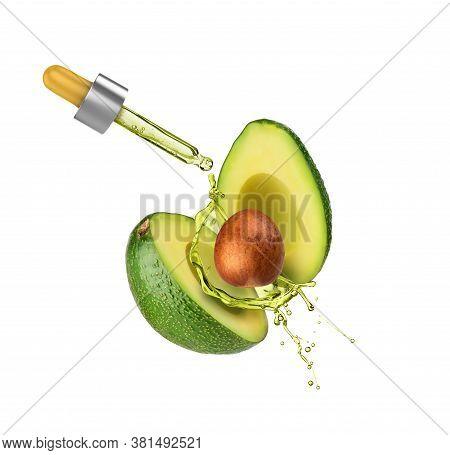 Sliced Avocado On A White Background With Avocado Oil