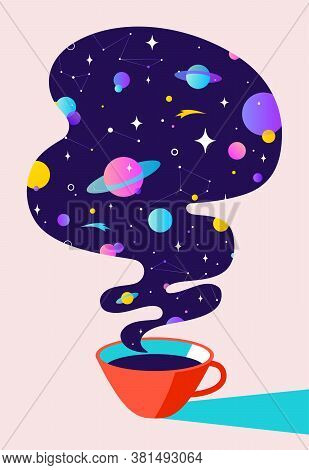Coffee. Cup Of Coffee With Universe Dreams, Planet, Stars, Cosmos. Modern Flat Illustration. Banner