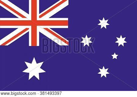 Australia Flag. National Flag Of Australia. Flat Vector Illustration.