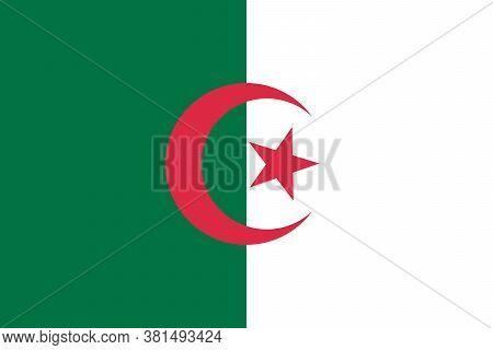 Algeria Vector Flag, Algeria Flag Illustration. Vector Illustration, Flat Design