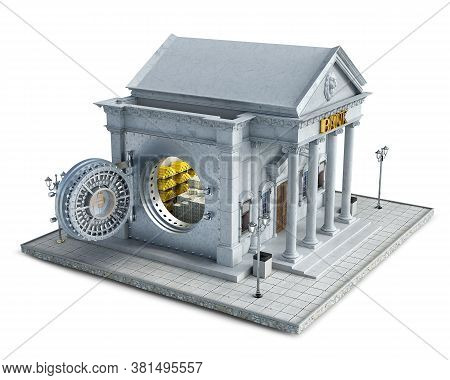 Bank Building With Opened Vault Door And Full Of Money And Gold Vault, 3d Illustration