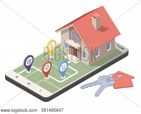 A Real Estate Agent Offers A Home For Rent, Purchase Or Rent. Online Real Estate Search. Isometric I