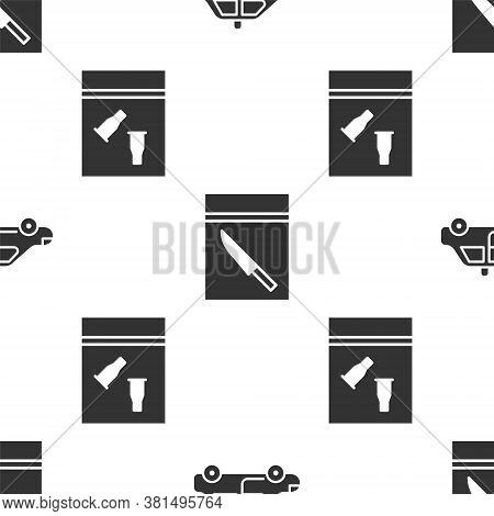Set Police Car And Flasher, Evidence Bag And Knife And Evidence Bag And Bullet On Seamless Pattern.