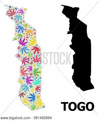 Vector Marijuana Mosaic And Solid Map Of Togo. Map Of Togo Vector Mosaic For Marijuana Legalize Camp