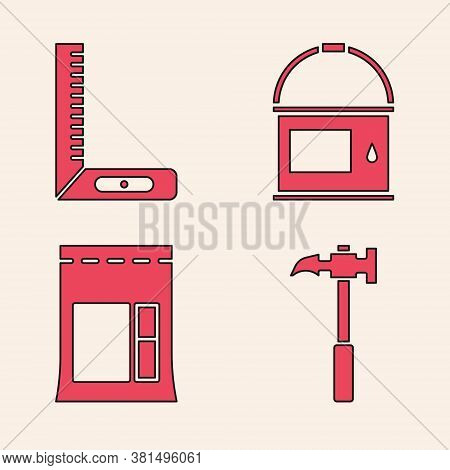 Set Claw Hammer, Corner Ruler, Paint Bucket And Cement Bag Icon. Vector