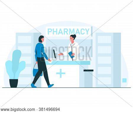 Pharmacy Concept Illustration. Smiling Female Pharmacist Greeting Visitor In A Modern Pharmacy Inter