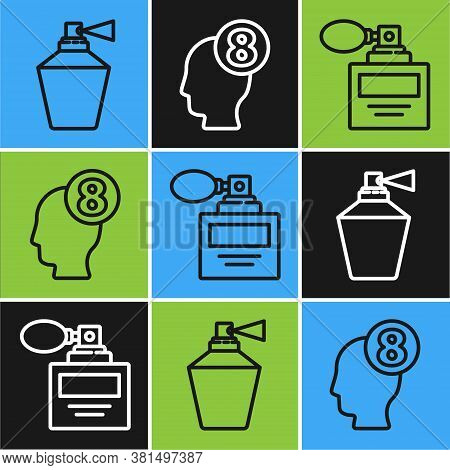 Set Line Perfume, Perfume And 8 March In Human Head Icon. Vector