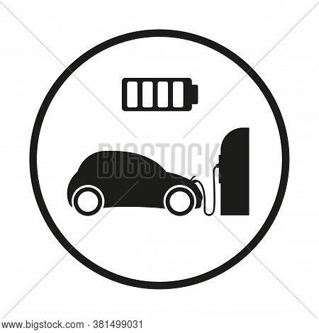 The Electric Car Is Charging At Electric Car Charging Station. Exhaust Fumes. Environmental Protecti
