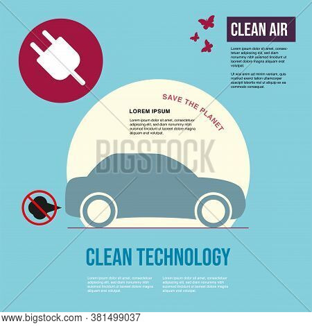 Electric Car. Exhaust Fumes. Environmental Protection Concept. Poster.