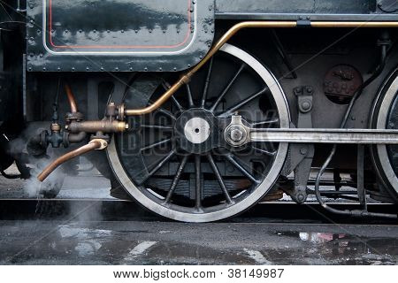 Close up view of the the wheel on a vintage steam locomotive poster
