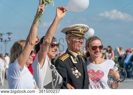 Mogilev, Belarus-august 16, 2020: Belarus Protests Against President Lukashenko. Peaceful Popular Pr