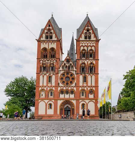 Limburg, Hessen / Germany - 1 August 2020: View Of The Historic Cathedral In Limbarg An Der Lahn