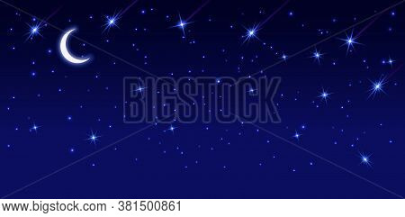Starry Sky With Bright And Dim Stars. Dark Starry Background