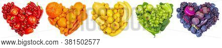 Rainbow Color Five Colour Heart Of Fruits And Vegetables Studio Isolated On White Background Go Vege