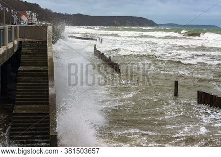 Big Wave In The Sea, Storm Waves In The Baltic Sea, Coastal Protection In A Storm