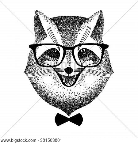 Portrait Of A Smart Fox In Glasses And Bow-tie. Fox Hipster Style. Stylized Vector Illustration. Sly