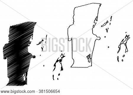 Belize District (belize, Districts Of Belize) Map Vector Illustration, Scribble Sketch Belize Map