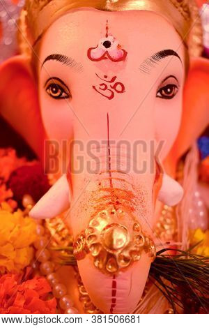 Abstract Background Of Lord Ganesha Elephant Face Head & Eyes Close Up With Hindu Religion Om Sign S