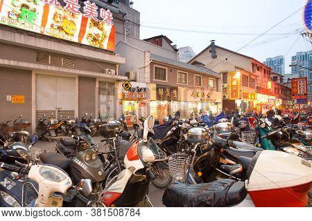 Shanghai, Huangpu District, China, Asia  - November 16, 2008: Motorcycle Parking Zone At Nanjing Roa