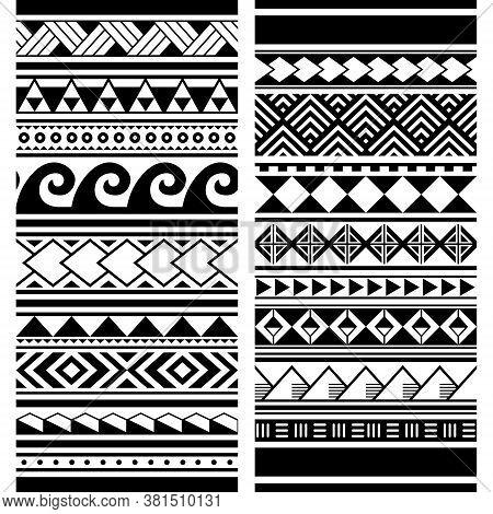 Polynesian Maori Tattoo Seamless Vector Two Pattern Set, Hawaiian Tribal Geometric Monochrome Design