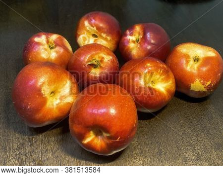 Nectarines, A Peach Of A Variety With Smooth, Thin, Brightly Colored Skin And Rich Firm Flesh, On Da