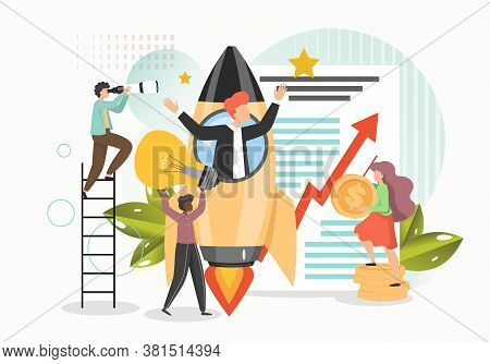 Business Startup With New Ideas, Vision, Growth Strategy, Professional Team, Vector Flat Illustratio