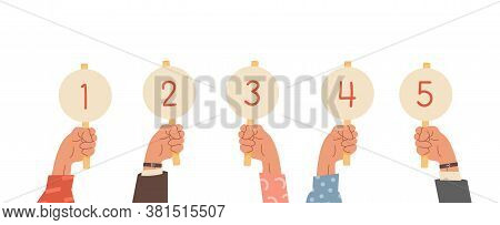Group Of Raised Human Hands Holding Score Cards. Businessmen And Casual Dressed Sleeve With Amount O