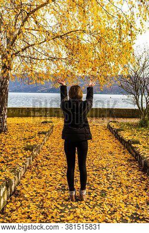 Autumn Leaves Fallen On Alone Woman Walking On The Autumn Alley. Autumn Landscape, Orange Foliage In