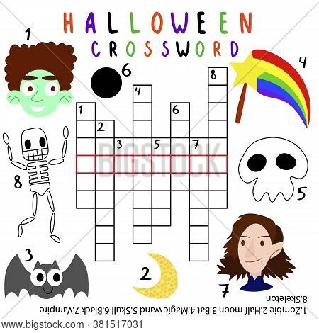 Halloween Crossword For Kids With Answer Stock Vector Illustration. Theme Crossword With Magic Wand,